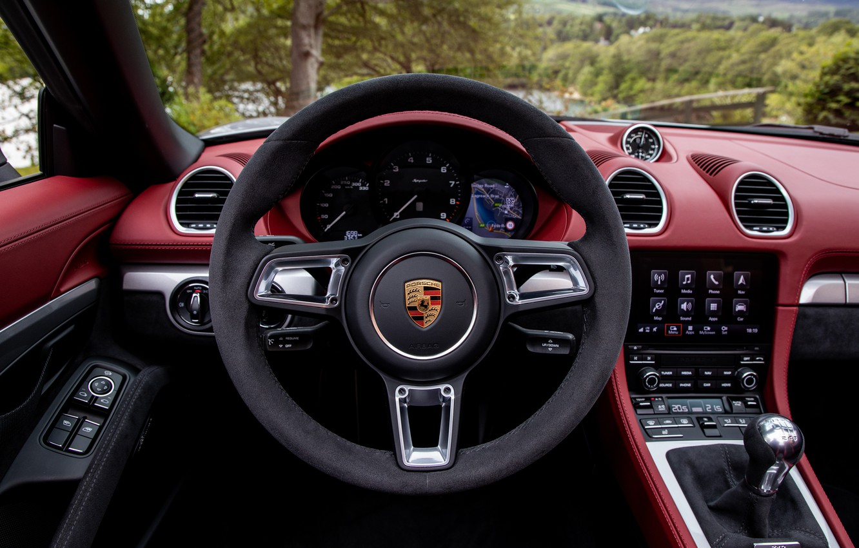 Photo wallpaper Porsche, Salon, Speedometer, The wheel, Spyder, Porsche 718, 2019, Porsche 718 ( 982 ) Spyder