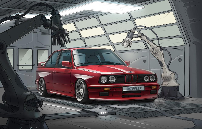 Photo wallpaper Red, Auto, BMW, Machine, Robots, Car, Illustration, BMW E30, Transport & Vehicles, Branko Đanić, by …