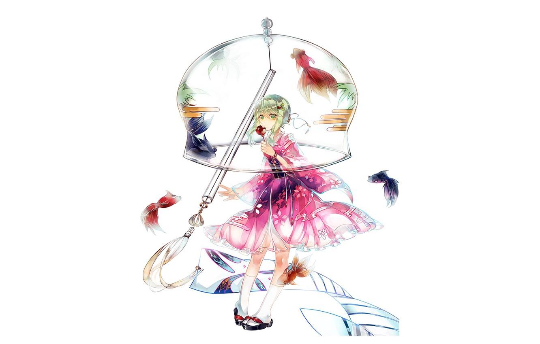 Photo wallpaper white background, knee, vocaloid, green hair, Vocaloid, Rubber Megpoid, pink dress, geta, aquarium fish, bell …