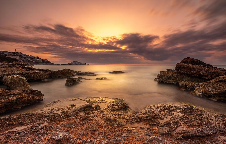 Photo wallpaper sunset, coast, Spain
