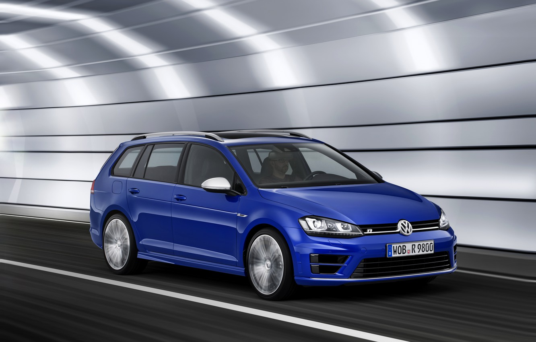 Photo wallpaper blue, Volkswagen, the tunnel, universal, 2014, Golf R Estate