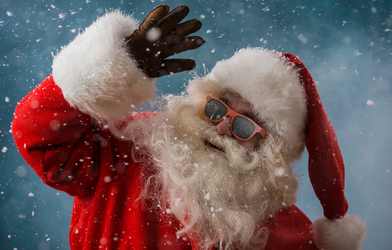 Photo wallpaper winter, snow, New Year, Christmas, Santa Claus, happy, Santa Claus, Christmas, winter, snow, Xmas, decoration, ...
