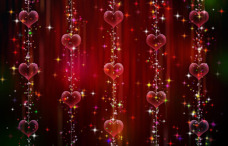 Photo wallpaper background, graphics, texture, sparks, hearts, garland, digital art