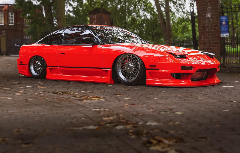 Photo wallpaper Red, Auto, Machine, Style, Nissan, Car, Render, 240, Rendering, 240SX, Nissan 240SX, Transport & Vehicles, …