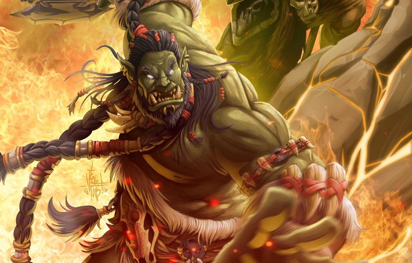 Wallpaper Figure The Game Wow Fire Blizzard Art Orc Flame