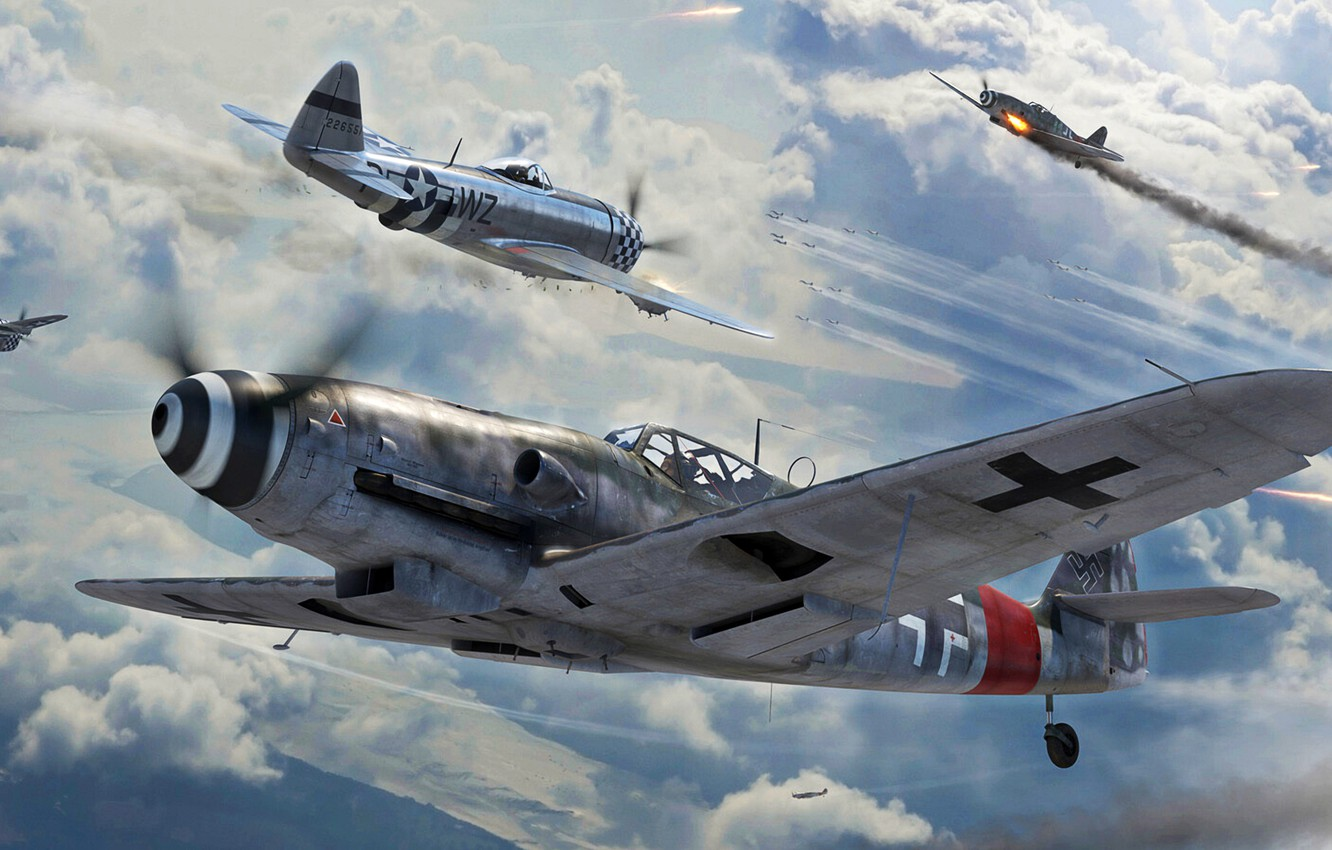 Photo wallpaper Fighter, Thunderbolt, USAF, Bf-109, Air force, Bf.109G-10, P-47D