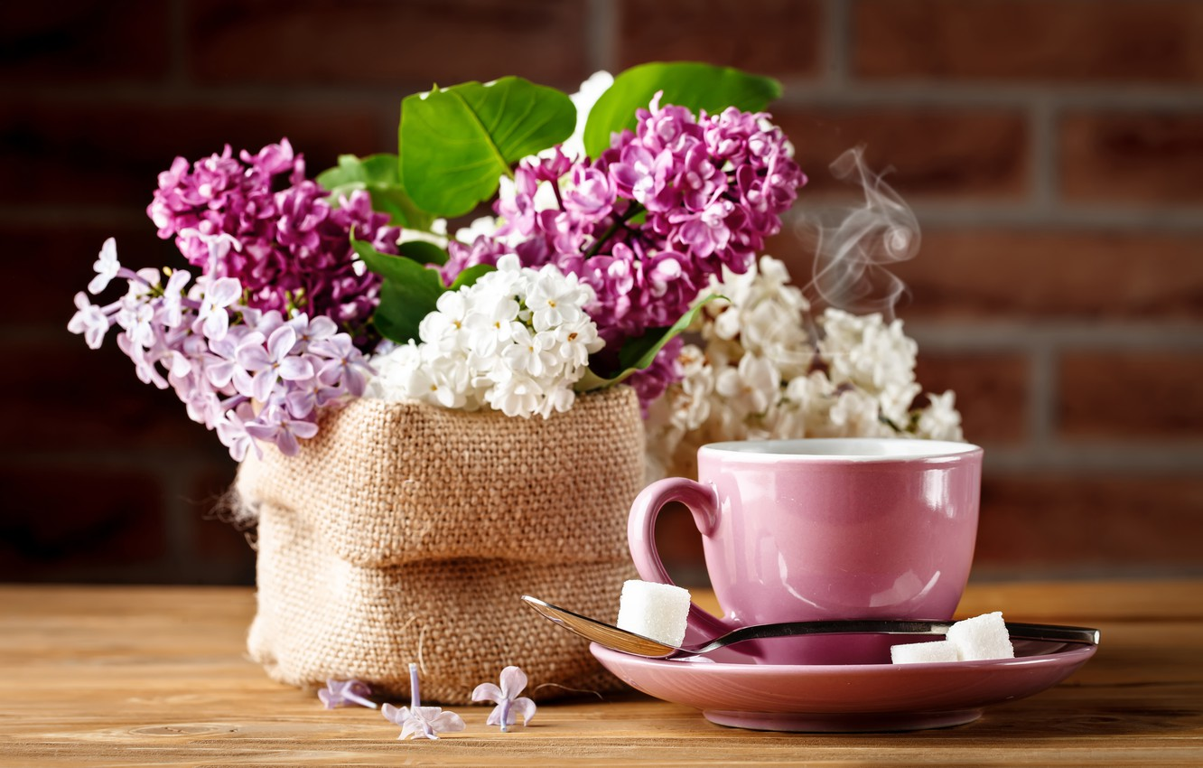 Photo wallpaper coffee, bouquet, Cup, lilac