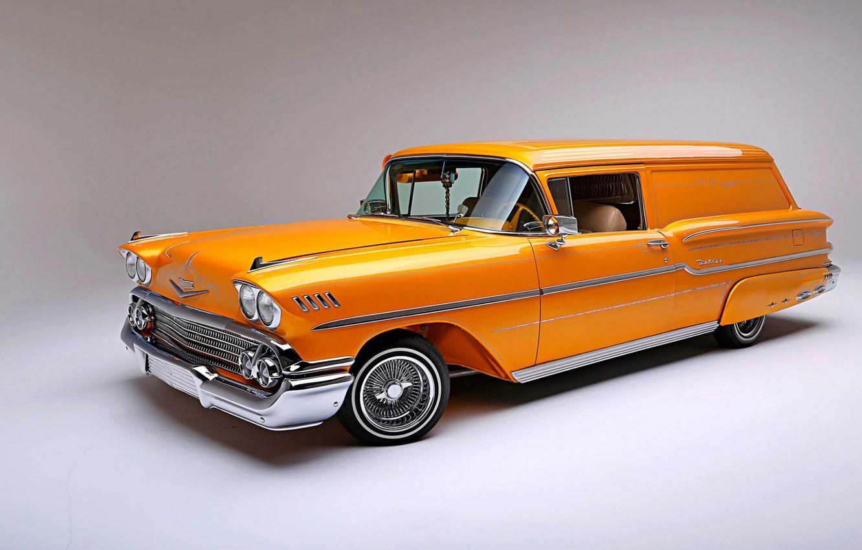 Photo wallpaper Orange, Lowrider, Custom, Low, Chevrolet Delray