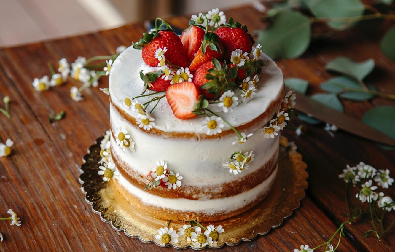 Photo wallpaper leaves, flowers, table, food, chamomile, strawberry, cake, fruit, dessert, sweet