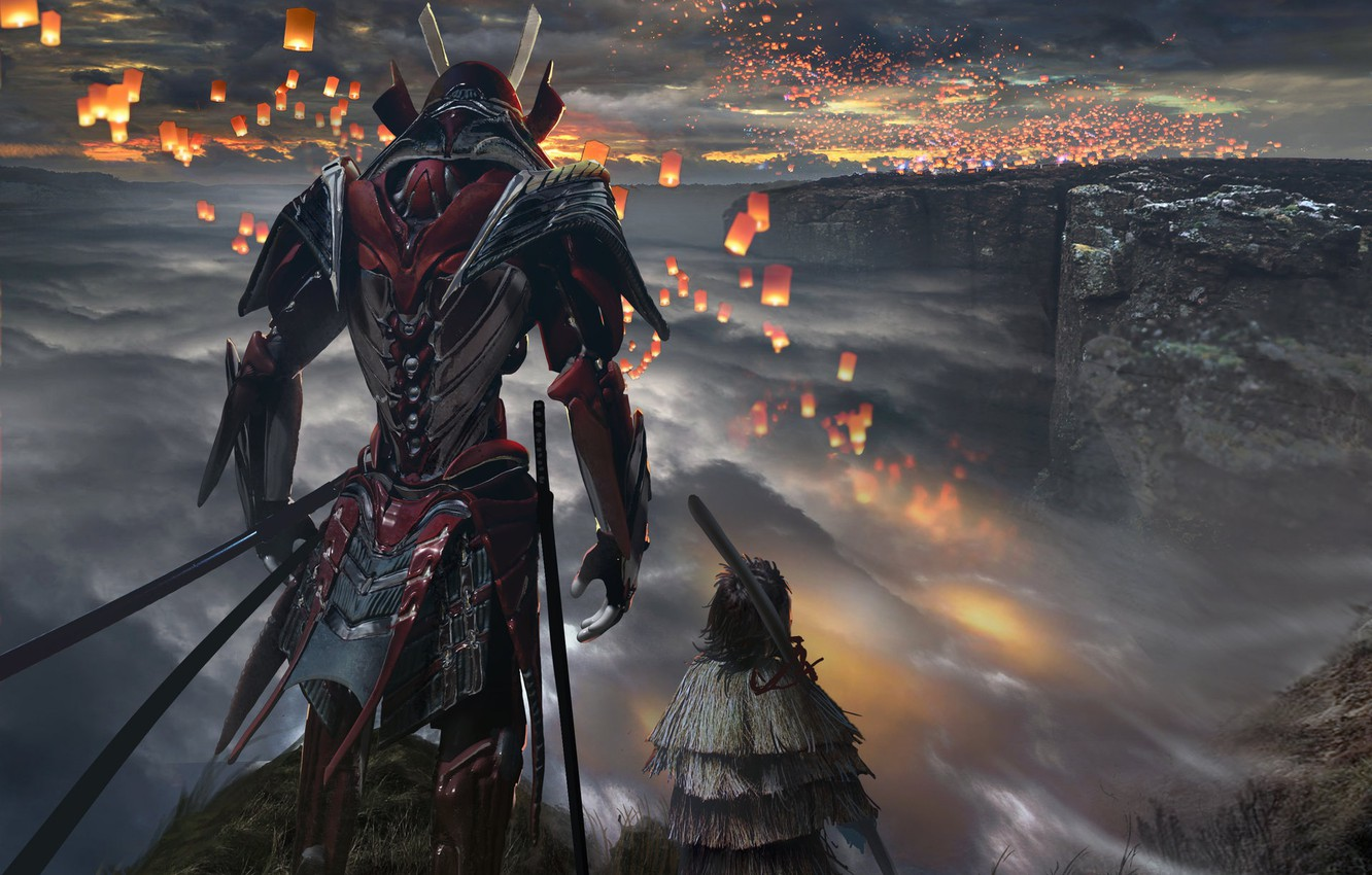 Wallpaper Clouds Warrior Hill Lanterns Samurai Armor