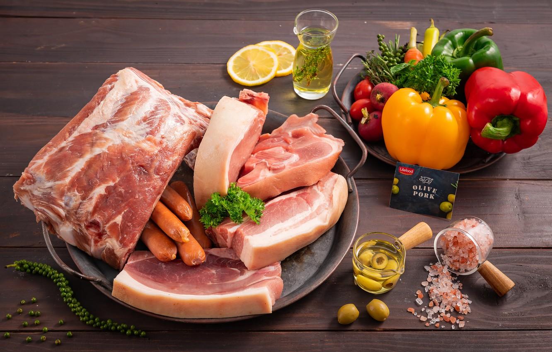 Photo wallpaper lemon, sausage, meat, pepper, vegetables, olives, salt, radishes