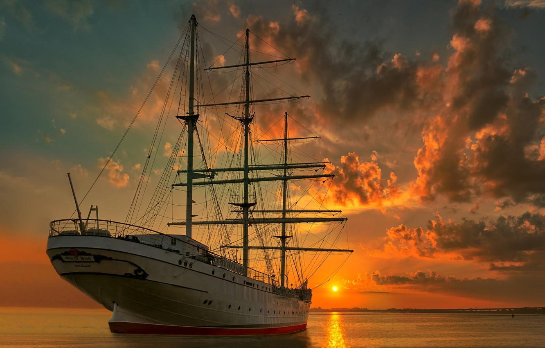 Photo wallpaper sunset, sailboat, Germany