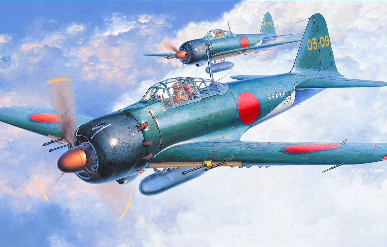 Photo wallpaper Japan, Zero, A6M5c, Combat aircraft, A6M5 Zero, A6M Reisen, A6M5c model 52c