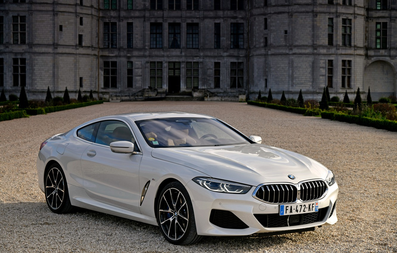 Photo wallpaper white, coupe, BMW, 2018, 8-Series, Eight, G15, 840d xDrive M Sport, in front of the …