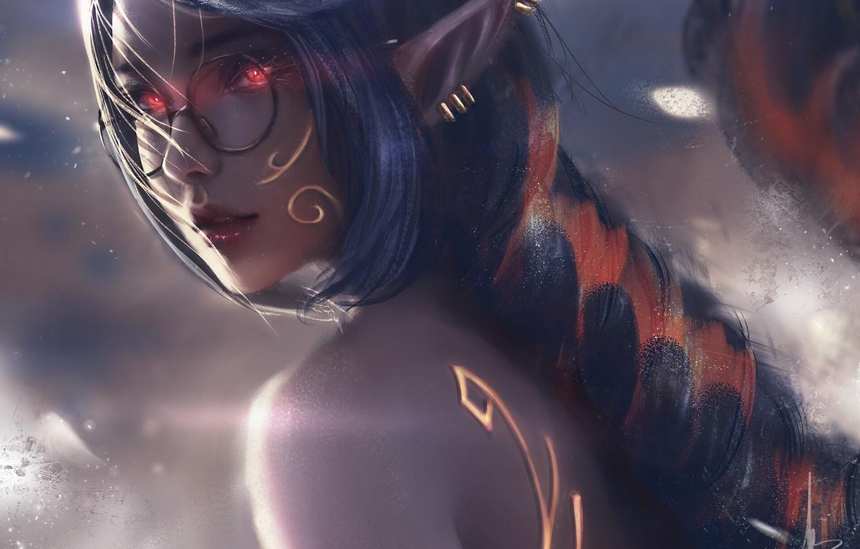 Photo wallpaper fog, piercing, glasses, elf, red eyes, long hair, pointy, sideways, elf girl, by Trung Bui
