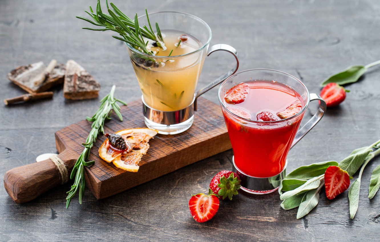 Photo wallpaper berries, cocktail, citrus
