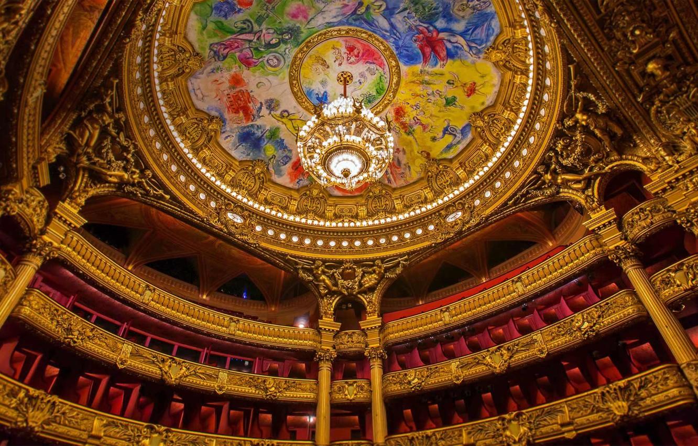 Photo wallpaper France, Paris, the ceiling, chandelier, theatre, painting, Marc Chagall, Opera Garnier