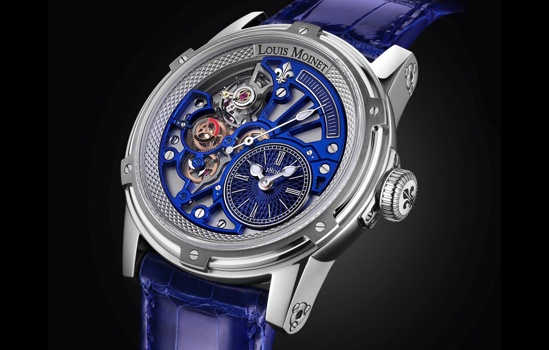 Photo wallpaper blue, Louis Moinet, watch analog, Tempograph