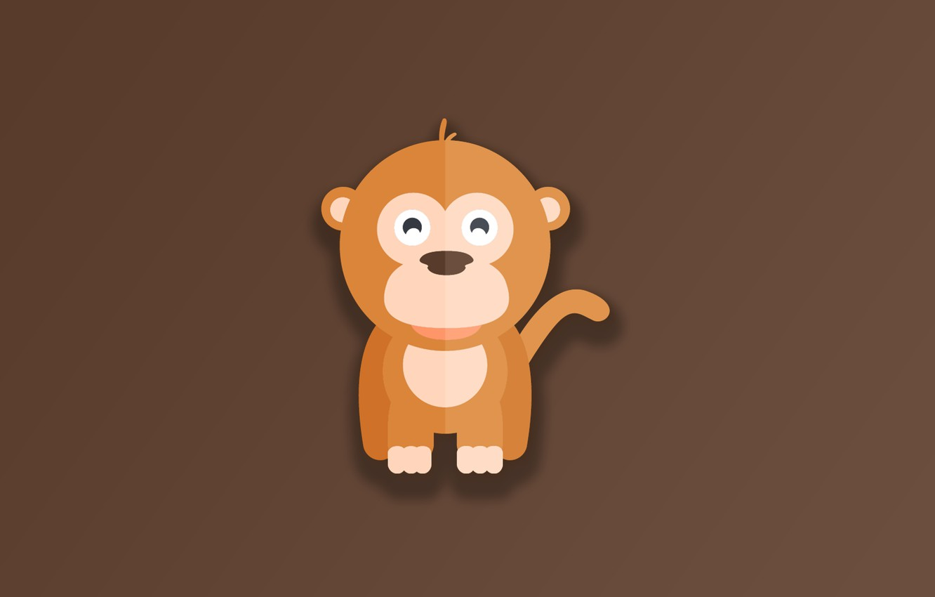 Wallpaper Monkey Minimalism Animal Funny Digital Art
