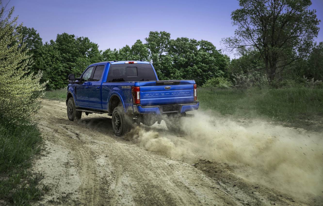 Photo wallpaper blue, Ford, dust, pickup, Super Duty, F-250, Tremor, 2020, Off-Road Package, F-series