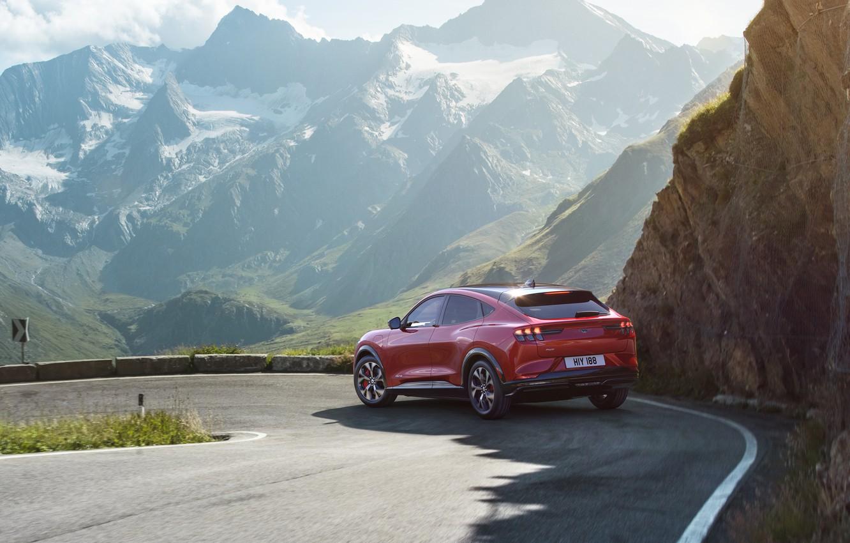 Photo wallpaper mountains, Mustang, Ford, crossover, EU-Spec, 2020, electrocreaser, Mach-E