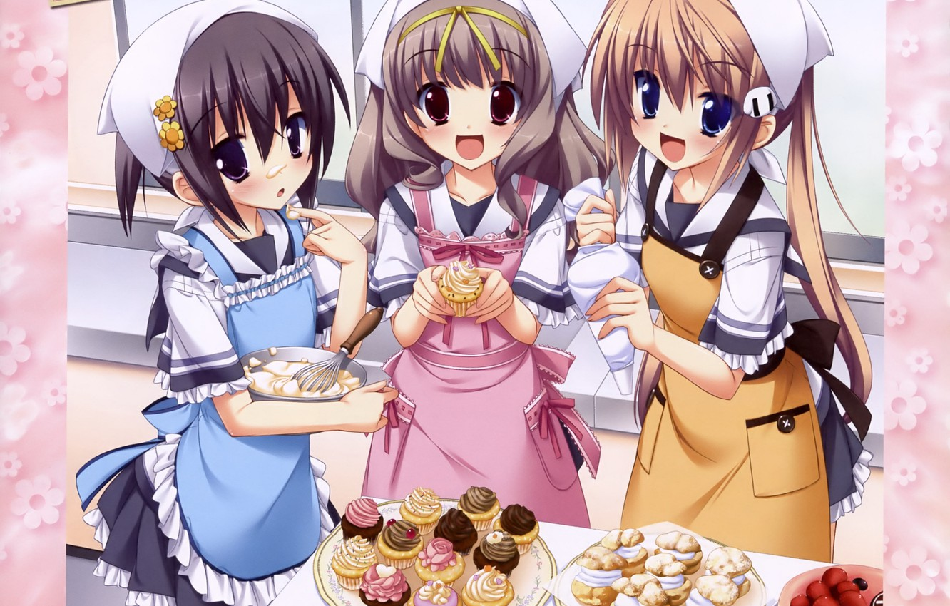 Photo wallpaper joy, strawberry, sweets, solitaire, in the kitchen, apron, girlfriend, visual novel, cupcakes, cooking, Koiiro Soramoyou, …