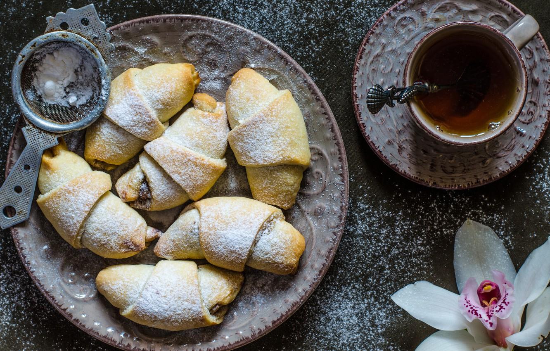 Photo wallpaper tea, Orchid, cakes, bagels