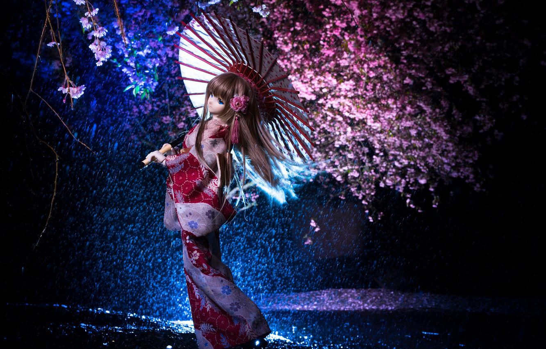 Photo wallpaper night, umbrella, Japanese, doll, Sakura, kimono