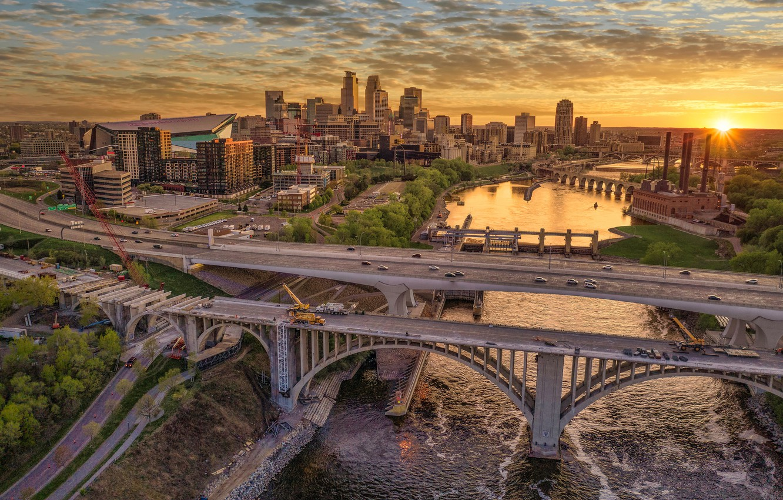 Photo wallpaper sunset, river, building, home, bridges, Mn, Minnesota, Minneapolis, Minneapolis, Mississippi River, The Mississippi River