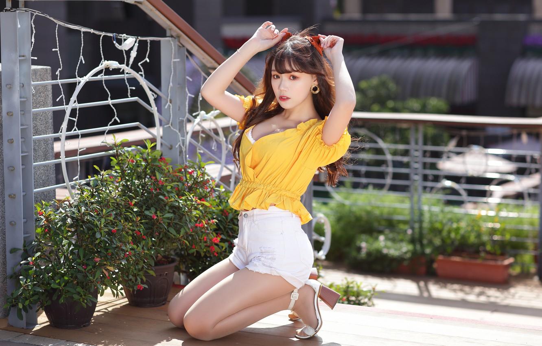 Photo wallpaper look, girl, shorts, blouse, Asian