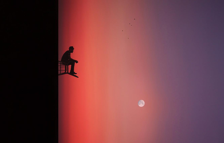 Photo wallpaper birds, people, The moon, moon, birds, man, Hossein Zare