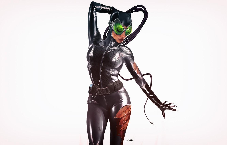 Photo wallpaper Minimalism, Figure, Cat, Costume, Background, Latex, Comic, Art, Art, Cat woman, Comics, DC Comics, Catwoman, …