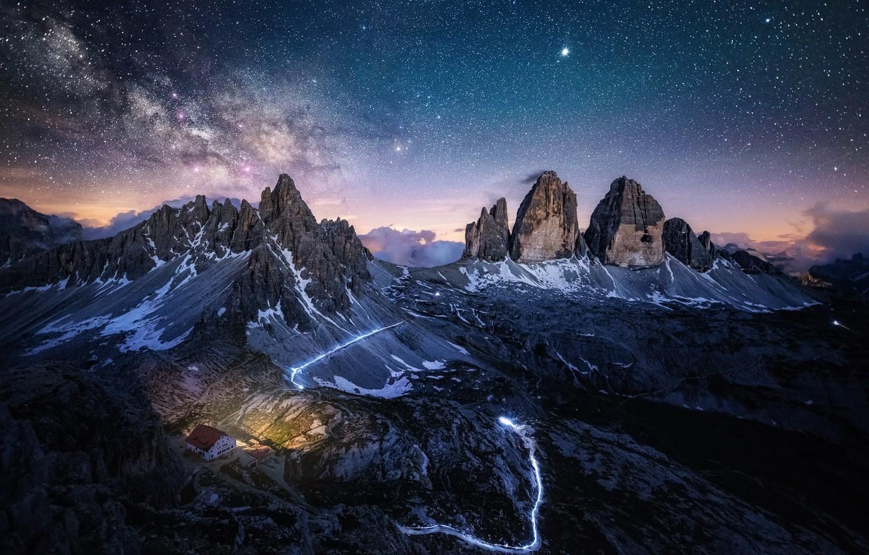 Photo wallpaper the sky, stars, mountains, night, rocks, Alps, the milky way