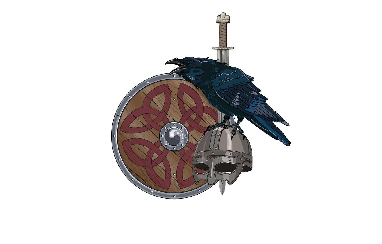 Photo wallpaper patterns, sword, helmet, shield, Raven, the Vikings