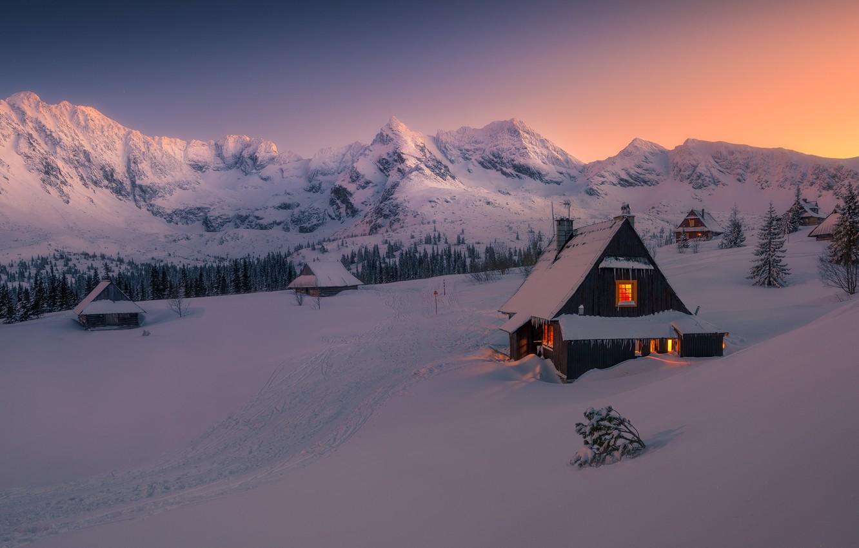 Photo wallpaper winter, snow, mountains, hut, winter, mountains, snow, hut, Tomasz Rojek