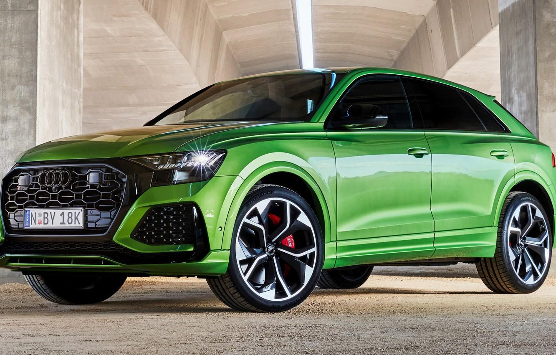 Photo wallpaper car, machine, Audi, green, rooms, wheel, crossover, RS Q8, Audi RS Q8, green machine, Q8