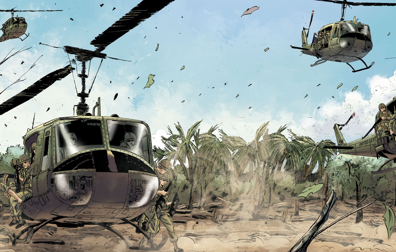 Photo wallpaper palm trees, figure, helicopters, Vietnam, landing, landing, Bell, infantry, cavalry, US Army, UH-1 Huey