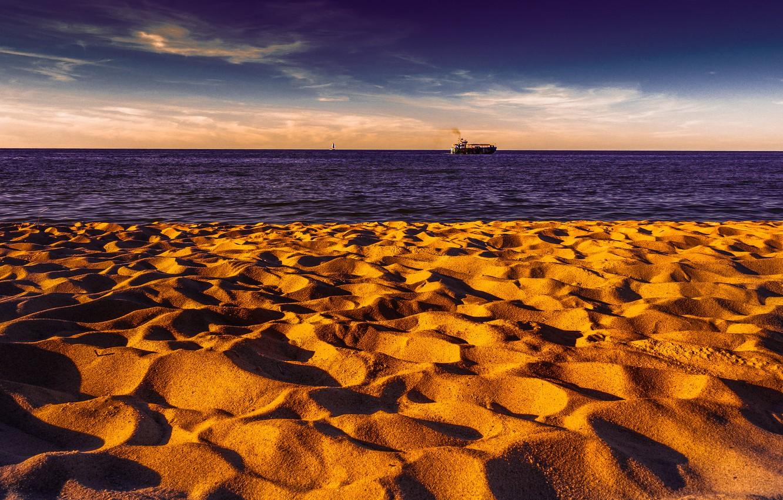 Photo wallpaper sea, shore, ship