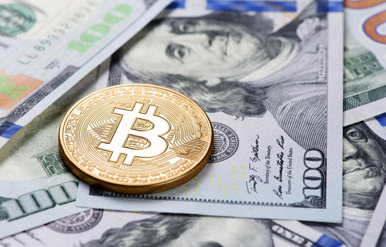 Photo wallpaper blur, dollars, bills, Franklin, dollars, bitcoin, bitcoin
