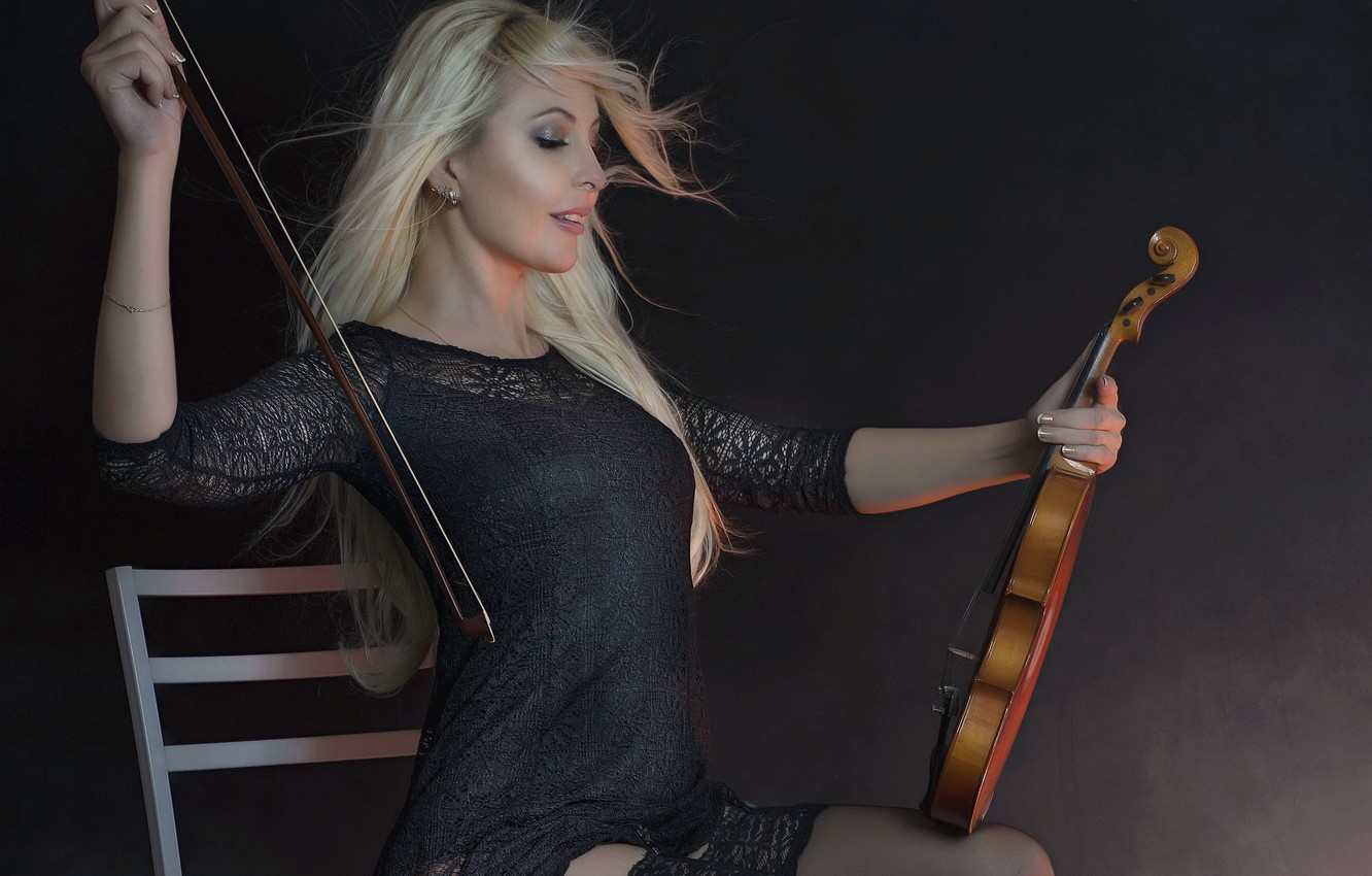 Photo wallpaper girl, music, background, violin