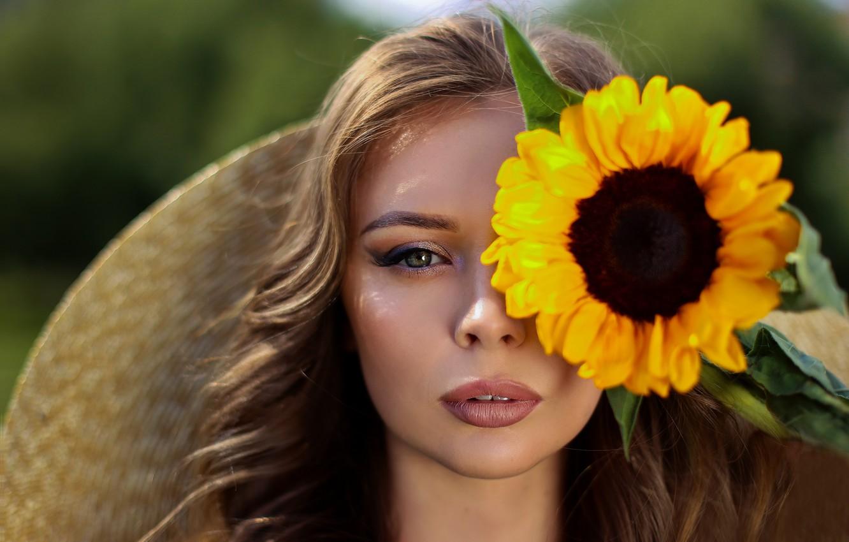 Photo wallpaper girl, portrait, sunflower, Eugene Pyatnitskaya