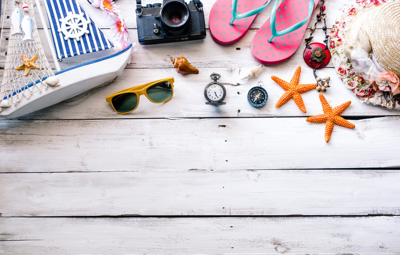 Photo wallpaper beach, summer, Sea, Ship, glasses, starfish, slates