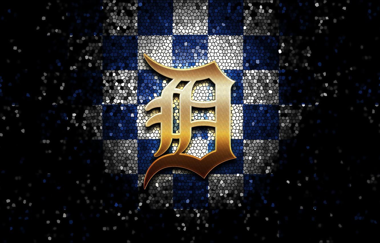 Photo wallpaper wallpaper, sport, logo, baseball, glitter, checkered, MLB, Detroit Tigers