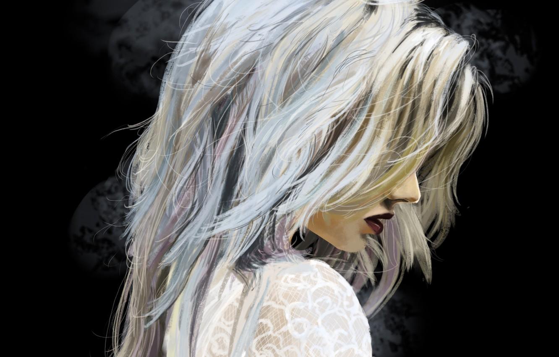 Photo wallpaper girl, hair, art, blonde, lips, profile, black background