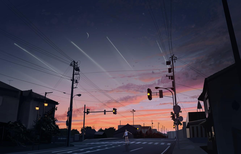 Photo wallpaper road, girl, the city, twilight, Svetofor
