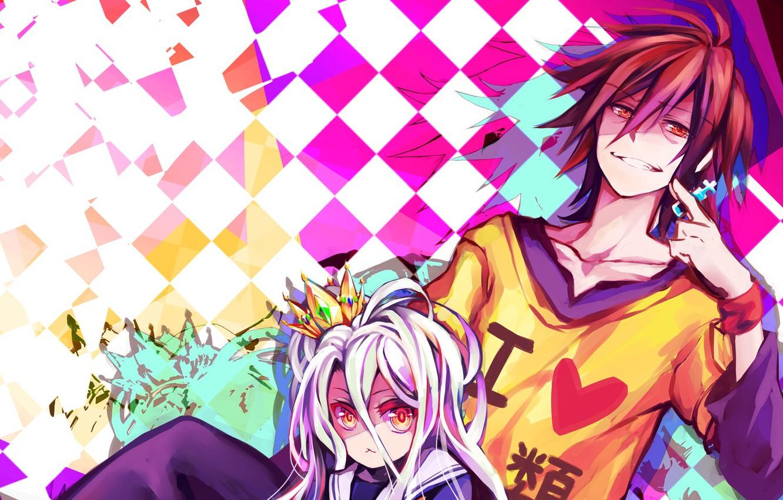 anime art dvoe no game no life net igry net zhizni paren dev