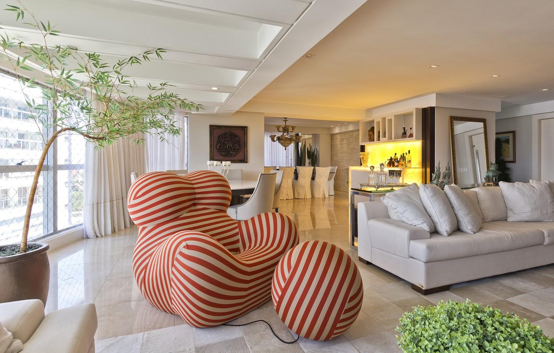 Photo wallpaper interior, chair, bar, sofa, living room, dining room, Fernanda Borio house