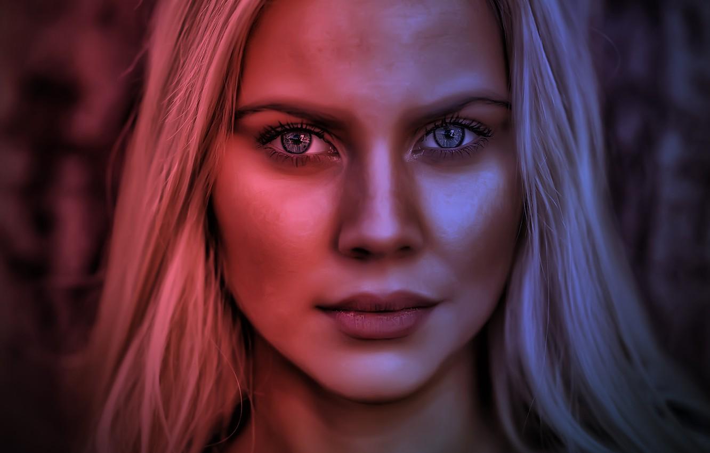 Photo wallpaper light, red, girl, blue, model, beauty, face, blonde, babe, spotlights
