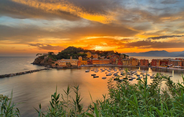 Photo wallpaper sea, grass, sunset, building, home, Bay, Italy, boats, Italy, Liguria, Liguria, Sestri Levante, Sestri Levante, …