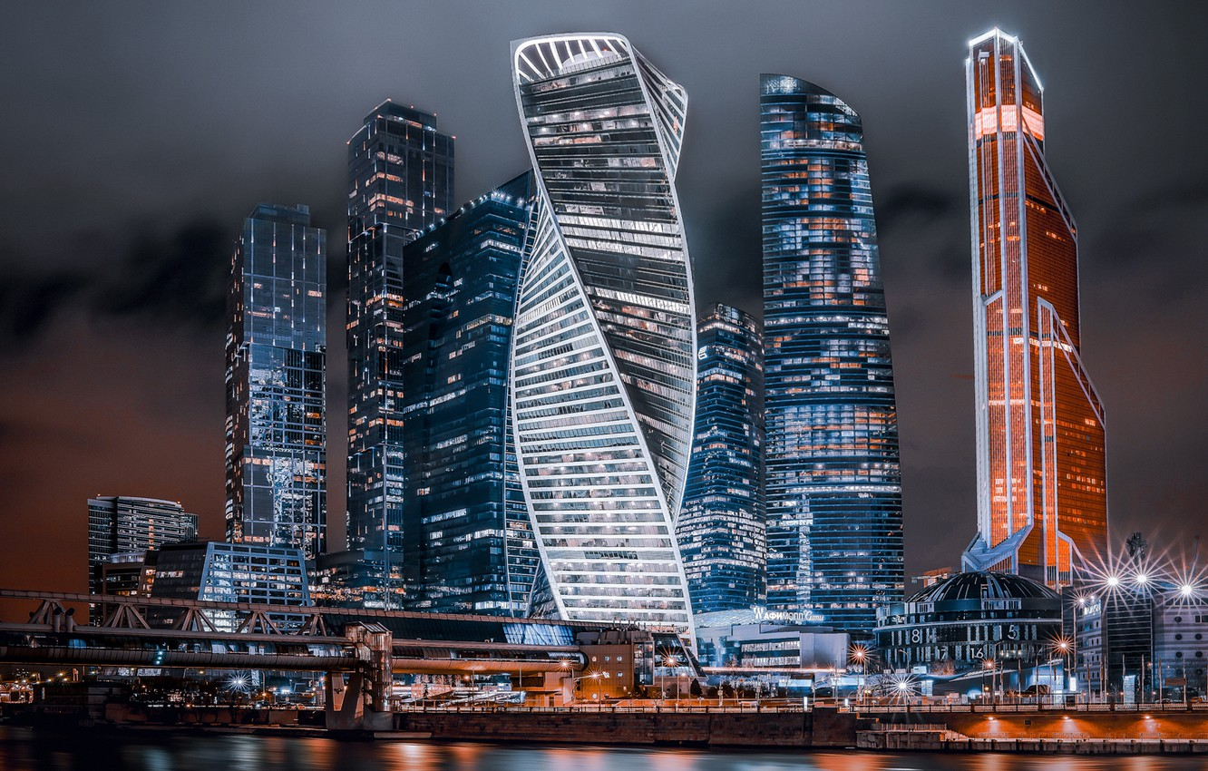 Photo wallpaper Night, Moscow, City